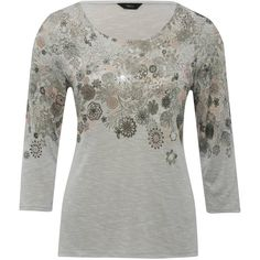 M&Co Floral Print Scoop Neck Top ($29) ❤ liked on Polyvore featuring tops, grey marl, floral print tops, grey top, floral tops, scoopneck top and scoop neck top