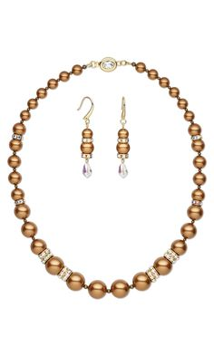 Jewelry Design - Single-Strand Necklace and Earring Set with Swarovski Crystal and Antiqued Gold-Plated Brass Beads - Fire Mountain Gems and Beads