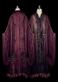 I have been asked to officiate at a friend's wedding. Contemplating making a version of this in black silk with trim in very deep blue/purple (and buttery yellow if needed) to match her wedding colors. Edwardian silk chiffon cocoon coat