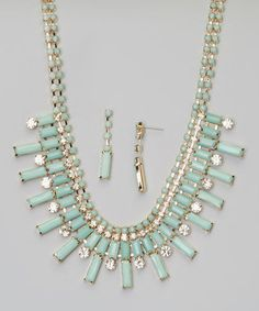 This Mint & Crystal Bib Necklace & Drop Earrings by Accessories West Imports is perfect! #zulilyfinds
