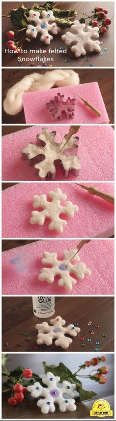 Simply way to make prefect felted snowflakes using needle felting technique - Basteln Felt Christmas Ornaments, Handmade Christmas Gifts, Christmas Diy, Snowflake Ornaments, Felt Crafts, Christmas Crafts, Diy Crafts, Felted Wool Crafts, Needle Felting Tutorials