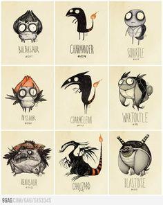 Varias criaturas de Pokemon, como si las hubiera dibujado Tim Burton (vía 9GAG).
