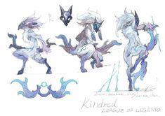League of Legends - Kindred concept art League Of Legends Characters, Lol League Of Legends, Character Concept, Character Art, Concept Art, Lambs And Wolves, League Of Angels, Animé Fan Art, Character Design References