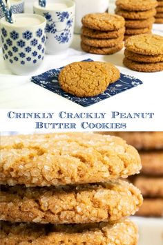 These super-easy Peanut Butter Cookies are deliciously buttery and chewy inside and crisp on the outside with lots of crinkles and crackles. Everyone loved these! #peanutbuttercookies #onebowlcookies #bestcookierecipes Delicious Cookie Recipes, Baking Recipes, Yummy Food, Easy Peanut Butter Cookies, Best Peanut Butter, Dessert Drinks, Dessert Recipes, Unique Recipes, Simple Recipes
