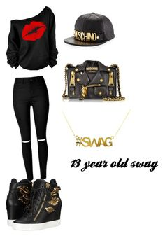 """""""thirteen year old swag"""" by mysterious-umbreon11 on Polyvore featuring Giuseppe Zanotti, Moschino, women's clothing, women, female, woman, misses and juniors"""