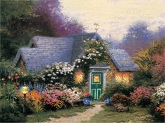 Lilac Gazebo detail Thomas Kinkade art for sale at Toperfect gallery. Buy the Lilac Gazebo detail Thomas Kinkade oil painting in Factory Price. Thomas Kinkade Puzzles, Thomas Kinkade Art, Kinkade Paintings, Oil Paintings, Thomas Kincaid, Art Thomas, Cottage Art, Oil Painting Reproductions, Beautiful Paintings