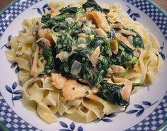 Spinat - Lachs - Sahne - Sauce auf Spaghetti