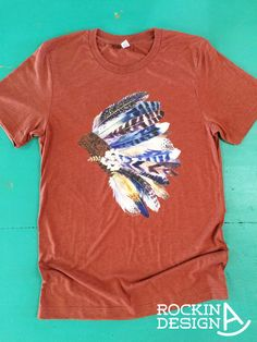 Items similar to Warbonnet clay triblend unisex t shirt / poly-cotton-rayon graphic tee / western / southwestern / feather headdress on Etsy Country Outfits, Western Outfits, Country Girls, Western Chic, Western Wear, War Bonnet, Cowgirl Style, Personalized T Shirts, Cute Shirts