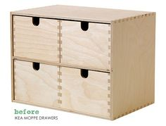The Painted Hive | IKEA Card File Drawers Hack - make a card catalog out of moppe ikea drawers- flip drawer front to back and attach drawer pulls