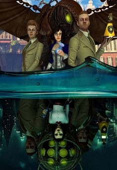 Elizabeth and the Lutece's in Columbia and Rapture. BioShock Infinite meets Burial at Sea.