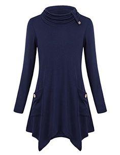 eea7ee1b0f91d Nomorer Womens Long Sleeve Funnel Neck Casual Tunic Sweatshirt Tops With  Pockets Flowy Shirts