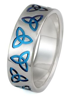Wow - what a great wedding band with blue knot symbols. In titanium. Pick your finish and get free engraving.