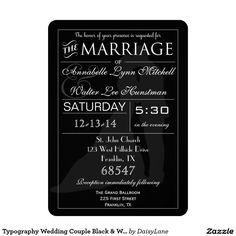 Typography Wedding Couple Black & White Invitation
