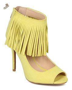 d323a3bfe04 Qupid CF28 Women Suede Peep Toe Fringe Ankle Cuff Stiletto Heel - Lemon  Lime (Size  7.0) - Qupid pumps for women ( Amazon Partner-Link)