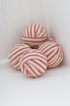 @ Debbie Small... Set of 3 - Large Red Ticking Stripe Ornaments or Jar Filler, Rag Ball Ornament. $16.50, via Etsy.