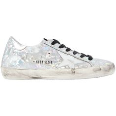 Golden Goose Deluxe Brand Women 20mm Super Star Printed Leather... (1,009 CAD) ❤ liked on Polyvore featuring shoes, sneakers, silver, pattern leather shoes, star sneakers, vintage sneakers, rubber sole shoes and leather shoes