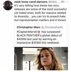 honestly the numbers speak for themselves . both captain marvel and black panther are cinematic masterpieces that don't deserve any of the hate . i think we all know WHY they're getting so much hate tho Black Panthers, Marvel Memes, Marvel Dc Comics, Avengers Memes, Captain Marvel, Fandoms, Marvel Cinematic Universe, Marvel Avengers, Equality