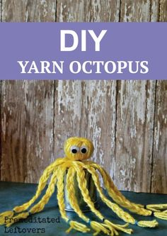 How cute is this DIY yarn octopus -- a fun craft for kids and adults!