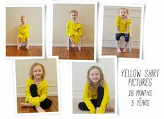 """You've seen my yellow shirt pregnancy pictures on Pinterest but this is my first time sharing my daughter's photos in that same shirt. And the first time I've shared my """"orange shirt"""" pictures from my son's pregnancy. I love this tradition and hope that it inspires you to start your own!"""