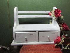 Desk Organizer Shelf with Drawers White Distressed Wood by LuRuUniques on Etsy