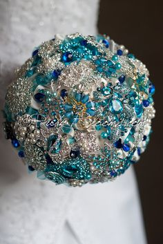 Sapphire Blue crystal silver turquoise wedding bouquet