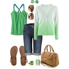 Green Ombre Cashmere Cardigan