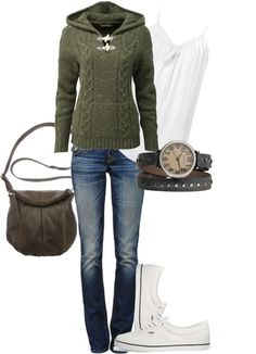 Fall outfit :)  The green sweater is so cute!