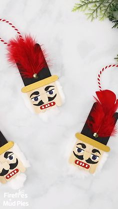 Christmas is the perfect holiday for nutcracker decorations! Made with craft sticks, paint, and basic craft supplies, this easy and fun wooden popsicle stick nutcracker ornament is a fun holiday keepsake for kids and adults to make.Christmas DIY : Step by Nutcracker Ornaments, Christmas Ornament Crafts, Noel Christmas, Christmas Projects, Handmade Christmas, Amazon Christmas, Christmas Ideas With Kids, Diy Christmas Gifts Videos, White Christmas