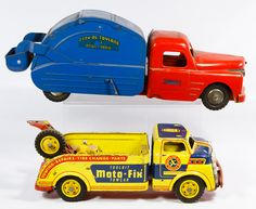 """Lot 569: Structo Toys No.7 """"City of Toyland"""" Pressed Steel Utility Truck; Together with a Moto Fix Towcar by Wyandotte"""