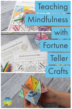 A mindfulness fortune teller craft and lesson to teach about mindfulness, self-regulation, and coping skills for success. Kids and teens can color their mindful fortune teller, cut it, fold it, and then use to to help them practice mindful breathing and other mindfulness strategies on their own (or with a partner). A great activity for special education teachers or counselors to try with their students. Elementary School Counselor, School Counseling, Elementary Schools, Social Work, Social Skills, Teaching Mindfulness, Fortune Teller, Social Emotional Learning, Special Education Teacher