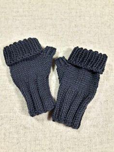 Warme fingerlose Kinderhandschuhe Größe Baby (7-18 Monate) aus Bio-Schurwolle kbT. Farbe: Dunkelgrau, Grau, Schiefer Bio: gut fürs Kind, gut für