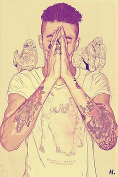Guy Praying Picture Tattoo