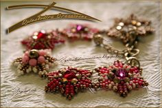 Would love to learn how to make these stars for broaches. Six Points Bracelet - great colours