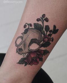 Cat skull with asian poppies and wild strawberries for Bibi at Tribal Act #tattoo #tattoos #ink #inked #tattooed #tattooist #design #flower #flowers #plants #botanical #tattooistartmagazine #tatrussia #tattoodo #toptattooartists #thebesttattooartists #tattoorevuemag #tattoscute #tattoo_artwork #tattoo_worldwide_online #equilattera by fflowerporn