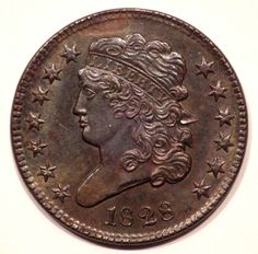1828 Classic Head Half Cent 1/2C C-3 Brown MS++++ Coin