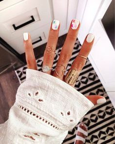 Went with a classic white manicure with rainbow stars. How cute are these by So obsessed… : Weekend Ready ? Went with a classic white manicure with rainbow stars. How cute are these by So obsessed… Simple Acrylic Nails, Summer Acrylic Nails, Best Acrylic Nails, Summer Nails, Star Nail Art, Star Nails, Star Nail Designs, Cute Nail Designs, White Manicure