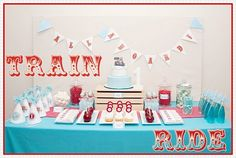 harrison will have a train party Kids Birthday Themes, Trains Birthday Party, 4th Birthday Parties, 2nd Birthday, Train Party Favors, Train Party Decorations, Vintage Party, Zug Party, Party Buffet