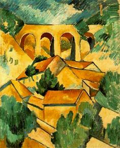 Dam if doesn't look like a Cezzane!  The Viaduct at L'Estaque: 1908 by Georges Braque (Musee National d'Art Moderne - Paris) Cubism