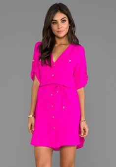 Amanda Uprichard Pocket Dress in Hot Pink
