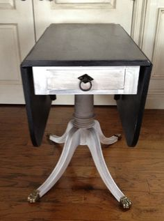 Vintage Hand Painted Drop Leaf Table With Brass Claw Feet