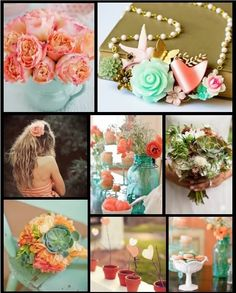 Peachy, mint, golds and lots of fun!!! :  wedding colors gold inspiration ivory mint orange peach pink teal Coral Orange Aqua Succulent Terracotta Wedding
