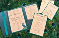Custom Peacock Feather Pocketfold Wedding Invitation. $7.50, via Etsy.