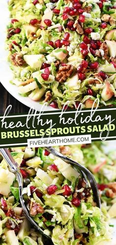This Holiday Brussels Sprouts Salad is so versatile! Even kids will scarf down this fresh, healthy salad that is bursting with color, texture, and flavor. Not only is it lovely to behold, but it is the side dish to cut through the rich decadence in your Thanksgiving meal! Sprouts Salad, Brussel Sprout Salad, Brussels Sprouts, Healthy Salads, Healthy Eats, Healthy Foods, Healthy Recipes, Best Side Dishes, Side Dish Recipes