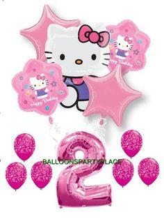 HELLO KITTY PINK PURPLE 2ND birthday damask party balloons SECOND supplies girls | eBay