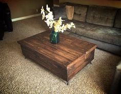Semler Rustic Coffee Table by SalvageProject on Etsy, $395.00   - hinges open to store blankets