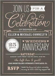 Gray western style silver anniversary invitation creative partays wonderful years wedding anniversary invitation stopboris Image collections