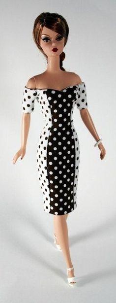 Silkstone BArbie in polkha dot dress