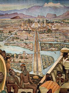 The Great City of Tenochtitlan Diego Rivera Diego Rivera Art, Diego Rivera Frida Kahlo, Frida And Diego, Arte Latina, Aztec Culture, Monuments, Most Famous Artists, Inka, Mexican Artists