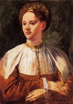 Portrait of a Young Woman (after Bacchiacca) - Artista: Edgar Degas Data do início: 1858 Data da Conclusão:1859 Estilo: Impressionism Género: portrait Técnica: oil Material: canvas Galeria: National Gallery of Canada, Ottawa, Canada