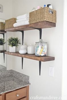 40+ Brilliant DIY Storage and Organization Hacks for Small Bathrooms --> DIY rustic bathroom shelves to take advantage of the vertical space